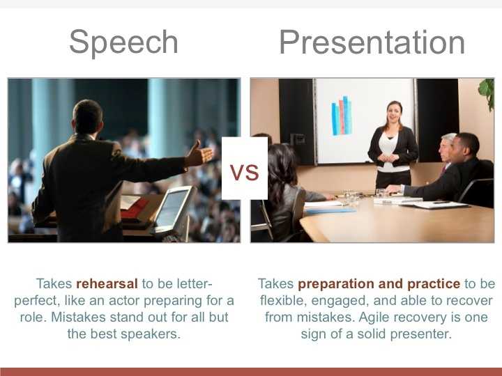Speeches aim for perfection while presentations need to be flexible